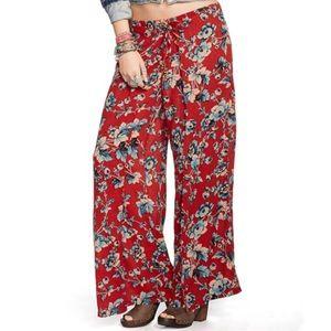 RALPH LAUREN Floral Smocked Wide Leg Pants